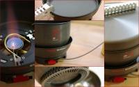 ◆チタンのようなメタル感がたまらない^^  ◆高効率の秘密は鍋底に。ちなみにη(eta:イータ)とは効率を表す量記号だそうです。 ◆五徳も広く安定感バッチリ。 ◆イグナイター、風防付きで使いやすい。燃焼音はやや大きめな気がします。 ◆蓋はフライパンに。取っ手はありませんのアルミのニッパー?が付属。 ◆火力の調整はカートリッジ側で。弱火も安定しています。 ◆他の鍋も乗せられます。風防を外せば、大きめの鍋も。 ★気になる大きさですが、米は4合は問題なく炊けました。5合はキビシイかも。
